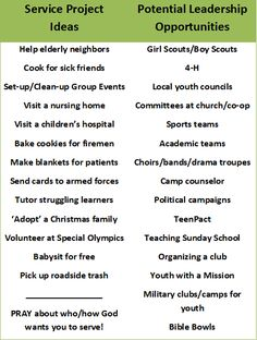 youth group service project ideas