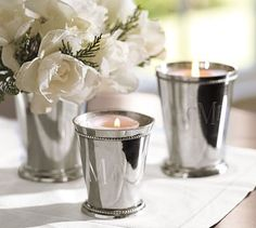 Use silver julep cups for floral centerpieces & candlelight.