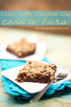 Fudgy Toffee Chocolate Chip Cookie Bars. #Dessert