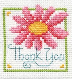 Thank you daisy cross stitch