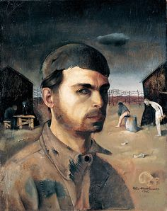 """Felix Nussbaum. Self-portrait, 1943 .""""Felix Nussbaum was born at Hanover. His father was a WW1 German war veteran. During Occupation, Nussbaum was interned in France, but escaped and went into hiding along with his wife in Brussels. In July, 1944, the couple were murdered at Auschwitz-Birkenau on or about Aug. 2nd. Nussbaums father and mother, a brother, sister-in-law and niece would be killed at Auschwitz. His other brother died at the Stutthof camp in Danzig. The family was thus extinguished."""" camp 1944, nussbaumartist lost, camp felix, felix nussbaumartist, nussbaum autoportrait, holocaust art, camps, paint, nussbaum selfportrait"""