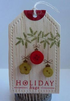 ...♥♡♥... christma tag, christmas gift ideas, gift wrapping, button, diy gifts, holiday gifts, balsa wood, christmas gift tags, christmas gifts