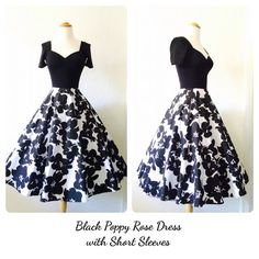 Black Poppy Rose Dress with Short Sleeves by MoonbootStudios, $168.50
