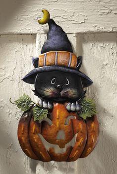 Pumpkin w/ Kitten Halloween Metal Door Decoration
