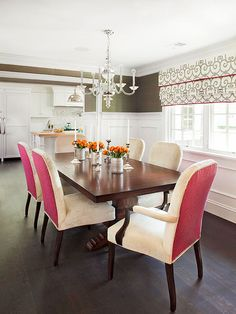 In this dining room, pink dominates -- even though it is used as an accent, proving that a strong color in small doses goes a long way: http://www.bhg.com/decorating/color/schemes/what-color-goes-with-pink/?socsrc=bhgpin050314peonypinksteelgrayandwhite&page=3