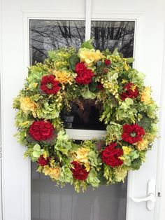 Spring Wreath with Red Geraniums & Yellow by julielaplant on Etsy, $169.00