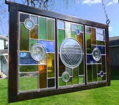3 Panel Stained Glass Window  Recycled Glass Art by TheBlackWalnut, $700.00
