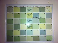 paint-chip dry erase calendar