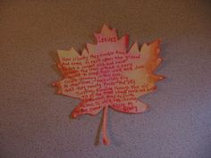 Fall leaf activity with poetry