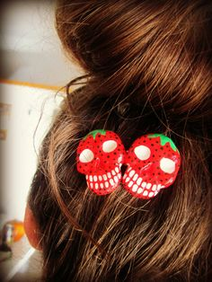 Strawberry Skull Handpainted Hair Decoration by HauntedHairCandy, $9.00