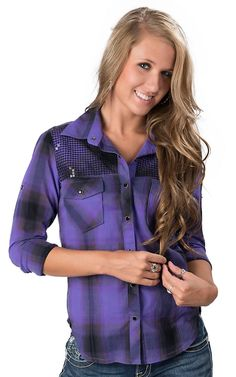 Rock  Roll Cowgirl® Girls' Purple  Black Plaid with Sequins Long Sleeve Western Shirt