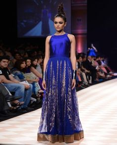 Sapphire Blue Brocade Gown- Buy Anita Dongre Online | Exclusively.in