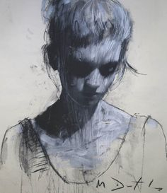 charcoal and white paint.