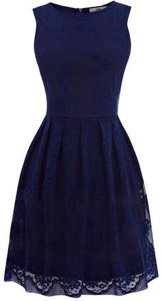 Oasis Lace Cutaway Dress in Blue (dark blue)
