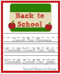 Back to School Printable Lunch Box Planners, Notes & Jokes - Second Chance To Dream