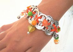 Beaded Pop Tab Bracelet  Sweet Peas and Carrots   by FabTabulous, $18.00