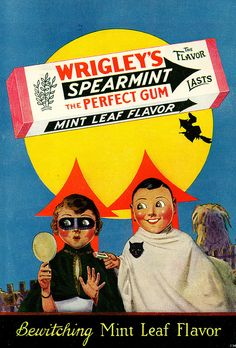 Fun Halloween themed Wrigley's Spearmint Gum ad from 1929. #vintage #1920s #Halloween #ads