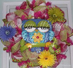 Spring Mesh Wreath Easter / Spring RAZ Owl Wreath by CustomWreathsAndMore on Etsy, $65.00