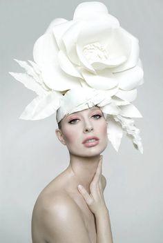 Huge white flower hat
