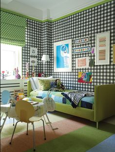 Green with black & white gingham
