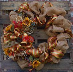 holiday, decor, burlap wreaths, burlap fall, crafti, fall burlap, door, fall wreaths, diy