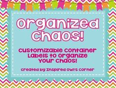 Organized Chaos Editable Container Labels