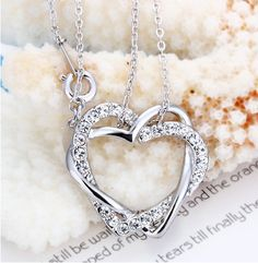 Fashion necklace 18K GP White Gold Crystal Jewelry - $18.00 gift, crystal jewelry, diamond necklac, necklaces, 18k white, white gold, jewelri, heart necklac, fashion necklace