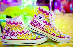 Alyssa Reise will paint white canvas sneakers to match your Bat Mitzvah theme for FREE!