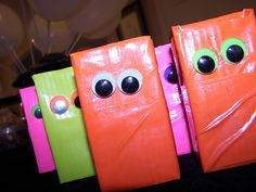 monster themed party cute gift wrapping idea