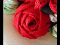 Como hacer una rosa de tela.. - YouTube