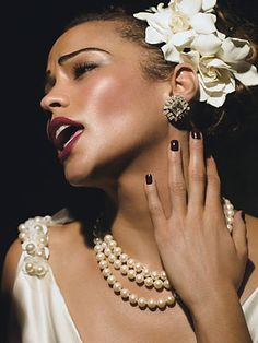 Love gardenias and if you can pull it off, gardenias worn Billie Holiday style in the hair. Just gorgeous.