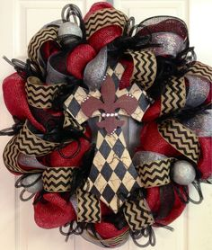 Burlap and Chevron Wreaths
