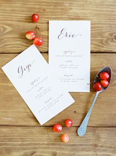 elegant menu design | Photography, Design and Florals by brancoprata.com  Read more - http://www.stylemepretty.com/2013/08/09/romantic-day-after-shoot-from-brancoprata/