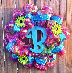 Summer initial wreath for my front door