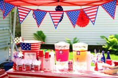 Red, White, and Blue Table Decor