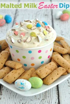 Malted Milk Easter Dip Recipe- If you love malted milk or whopper eggs, then you will love this festive Easter dessert dip. Friends taste tested this for me and raved about it.