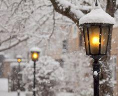 winter, snowy street lamps