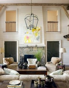 Mountain home featuring reclaimed wood beams and railing. #reclaimedwood