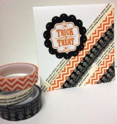 Handmade Halloween card featuring Tags 4 You stamp set and Witches Brew Designer Washi Tape from Stampin' Up!