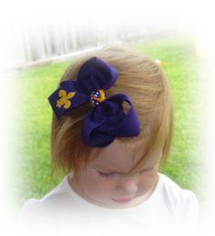 Custom FluerDisLis Embroidered Hair Bow by MyBowdaciousDesigns, $6.50