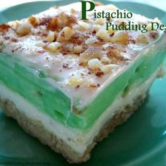 Pistachio Pudding Dessert...had this today and it was sooooo yummy I had to find it on here! Pretty sure the one I tried had a graham cracker crust though...even better!!!