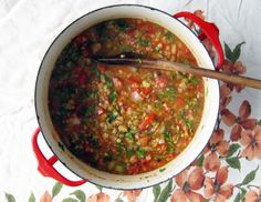red lentil mexican soup with lime - skip oil