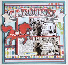 carousel layout, dreami carousel, carousel disney scrapbook