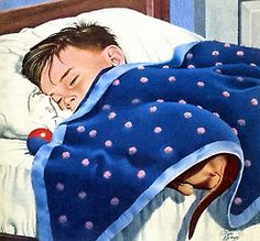 rogerwilkerson: Dachshund Under the Covers, art by Stan Ekman. - Detail from October 5, 1958 American Weekly Magazine cover.