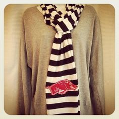 Hogs razorback stripe applique scarf. $24.00, via Etsy.