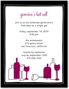 Bachelorette parties wine tasting party invitations white bachelorette