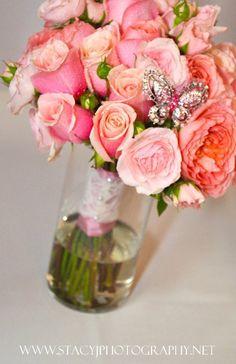 pink garden roses bouquet  wedding flowers -portland, or  http://sophisticatedfloral.com/
