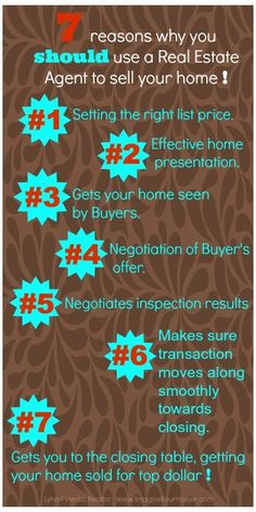 7 reasons why you should use a Real Estate Agent to sell…  I sell real estate in Ellis County and would love to help you!  www.melissamcclainlewis.com