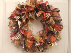 Front Door Wreath, Ribbon Wreath, Fabric Wreath, Brown Rust Gold, Fall Wreath, Harvest Decoration