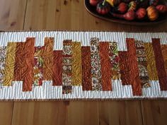 Quilted Table Runner Autumn in Burnt Orange, Gold, Rust, Brown and Cream